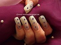 Nail design with net lace tulle