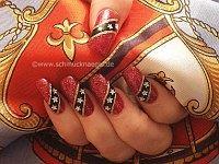 Motif in red-glitter