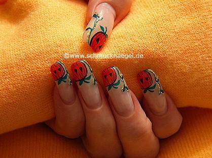 Halloween pumpkin as fingernail motif