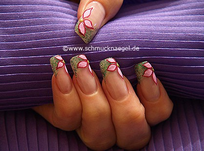 Fingernail motif with glitter nail lacquer