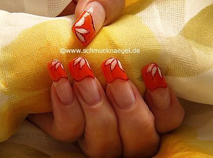 Fingernail motif with uv colour gel