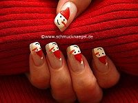 Snowman with Christmas cap as fingernail motif