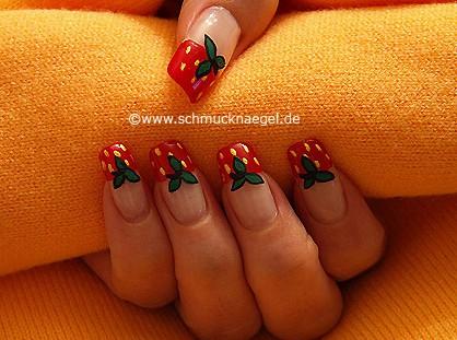 Strawberry as fingernail motif