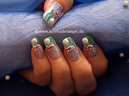 Aquarium nail art motif for the fingernails