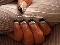 Nail decoration with sticker and nail lacquer
