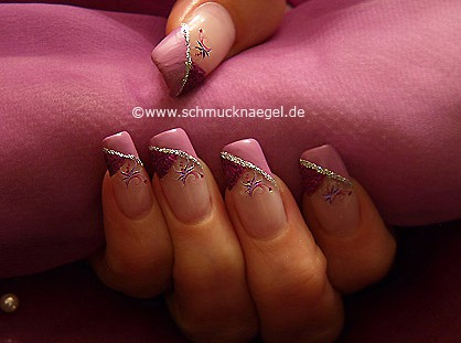 French fingernail design with nail sticker