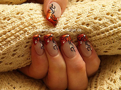 Ornament nail design with strass stones