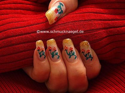 Strawberry shrub as fingernail design