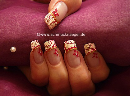 French motif with crackle nail polish in white