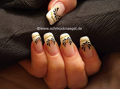 Nail art sticker with strass stones and nail lacquer
