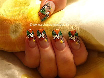 Landscape as nail art decoration
