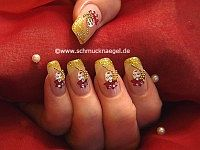 Venetian mask as carnival nail art decoration