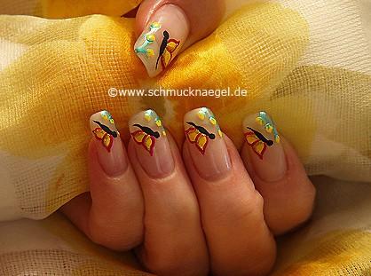 Butterfly springtime motif as fingernail design