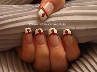 French design with nail art liner and nail lacquer