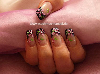 Flowers design with nail lacquer and strass stones