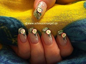 Nail art fimo motif with glitter nail lacquer