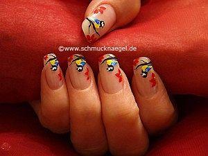 Bird motif as fingernail design with art liner