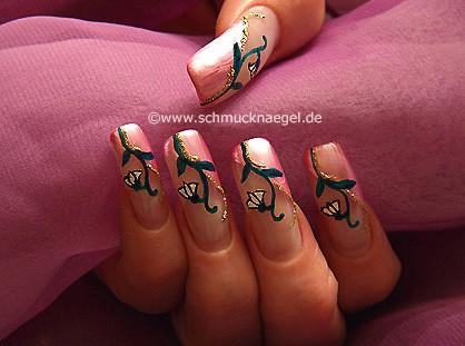 Flor de Pascua decoración en uñas