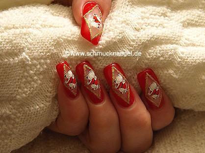 Papá Noel en uñas decoradas