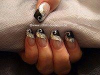 Holograma y nail art liner en plata-glitter