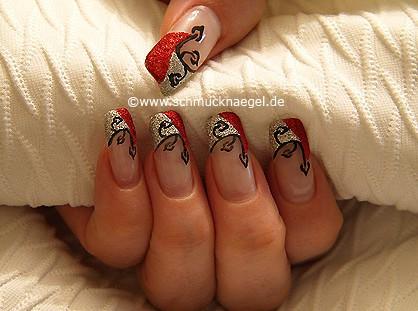 Motivo con purpurina para decoración de uñas