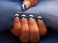 Decoración marítimo - Motivo de uñas con esmaltes