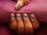Diseño con pegatinas de flores y polvo en rosa-glitter