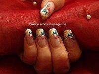 Motivo de seta con nail art liner y esmalte