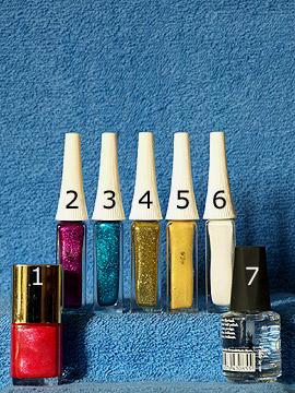 Produkte für das Nailart Fingernageldesign für Silvester - Nagellack, Nailart Liner, Klarlack