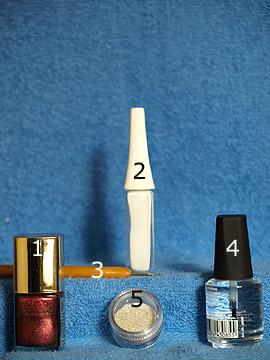 Produkte für das Nageldesign Anleitung für die Fingernägel - Nagellack, Nailart Liner, Spot-Swirl, Klarlack, Nailart Bouillons