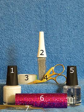 Produkte für das Motiv Nagel Dekoration mit Hologramm-Folie - Nagellack, Nailart Liner, Klarlack, Hologramm-Folie