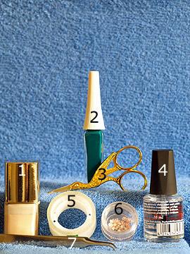 Produkte für das Nailart Motiv mit Keramik-Blumen - Nagellack, Nailart Liner, Keramik-Blumen, Klarlack
