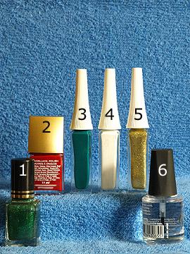 Produkte für das Osterei als Nailart Motiv - Nagellack, Nailart Liner, Klarlack