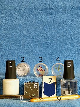 Produkte für das Nailart Motiv mit verschiedenen Strasssteinen - Nagellack, Strasssteine, French Maniküre Schablonen, Spot-Swirl, Klarlack