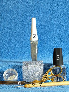 Produkte für das Fingernagel Motiv mit Organza Tüll - Strasssteine, Nailart Liner, Organza Tüll, Spot-Swirl, Klarlack