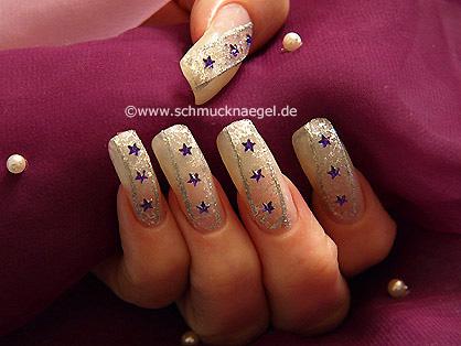 Fingernagel Motiv mit Organza Tüll