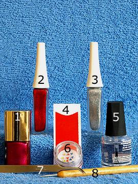 Produkte für das Motiv 'French Nägel mit dreieckigen Strasssteinen' - Nagellack, Nailart Liner, French Maniküre Schablonen, Strasssteine, Spot-Swirl, Klarlack