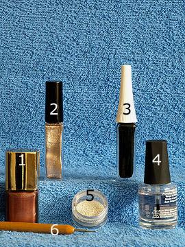 Produkte für das Fingernagel Motiv mit Nailart Bouillons in silber - Nagellack, Nailart Liner, Nailart Bouillons, Spot-Swirl, Klarlack