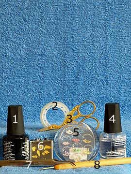 Produkte für das Nailart Motiv mit Blattgold und Halbperlen - Nagellack, Halbperlen, Blattgold, Spot-Swirl, Klarlack