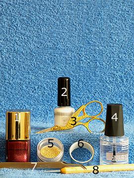 Produkte für das Fingernagel Motiv mit Metallic-Folie und Nailart Bouillons - Nagellack, Nailart Bouillons, Metallic-Folienkleber, Metallic-Folie, Spot-Swirl, Klarlack