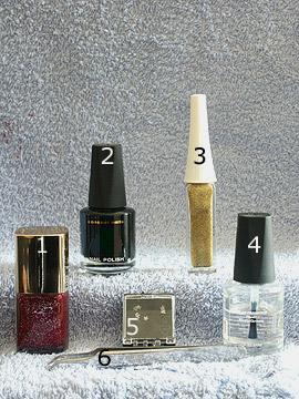 Produkte für das Motiv in rot-glitter - Nagellack, Strasssteine, Nailart Liner, Pinzette, Klarlack