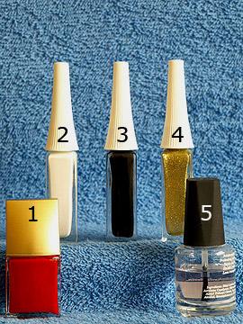 Produkte für die Fingernagel Kosmetik mit Nailart Liner und Nagellack - Nagellack, Nailart Liner, Klarlack