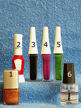 Produkte für das Nailart 'Flugdrache als Fingernagel Motiv'  - Nagellack, Nailart Pen, Nailart Liner, Klarlack