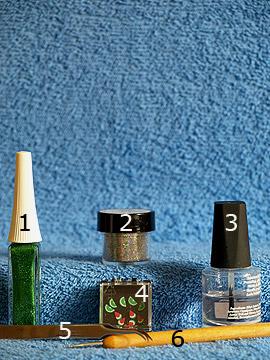 Produkte für das Motiv 'Fimo-Früchte für die Fingernagel dekoration' - Glitter-Pulver, Nailart Liner, Fimo-Früchte, Spot-Swirl, Klarlack