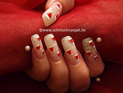 Nikolausmütze als Fingernagel Dekoration