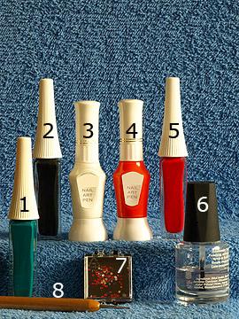 Produkte für das Motiv 'Advent Dekoration für die Fingernägel' - Nailart Liner, Nailart Pen, Strasssteine, Spot-Swirl, Klarlack