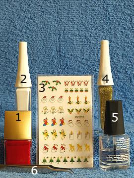 Produkte für das Weihnachtsmann Motiv für die Fingernägel - Weihnachtssticker, Nagellack, Nailart Liner, Klarlack