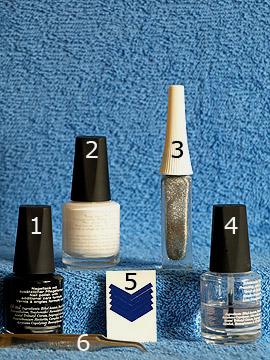 Produkte für das Fingernagel Motiv mit Nagellack und Nailart Liner - Nagellack, Nailart Liner, French Maniküre Schablonen