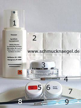 Produkte für das Nailart Motiv in rot mit Farbgel - Reiniger (Dispersionsschicht), Versiegelungsgel, Zellstoff-Tupfer, Farbgel, Nagelfeile, Spot-Swirl
