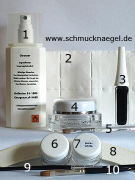 Produkte für das Farbgel Motiv für Karneval - Reiniger (Dispersionsschicht), Zellstoff-Tupfer, Nailart Liner, Versiegelungsgel, Glittergel, Farbgel, Nagelfeile